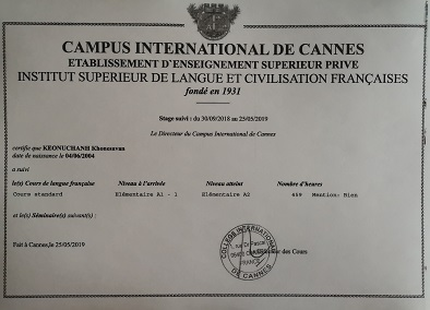 Certificate of French studies