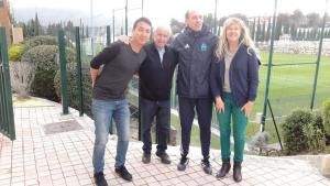 Michel Hidalgo and the director meeting the football director and U19 coach at OM training centre